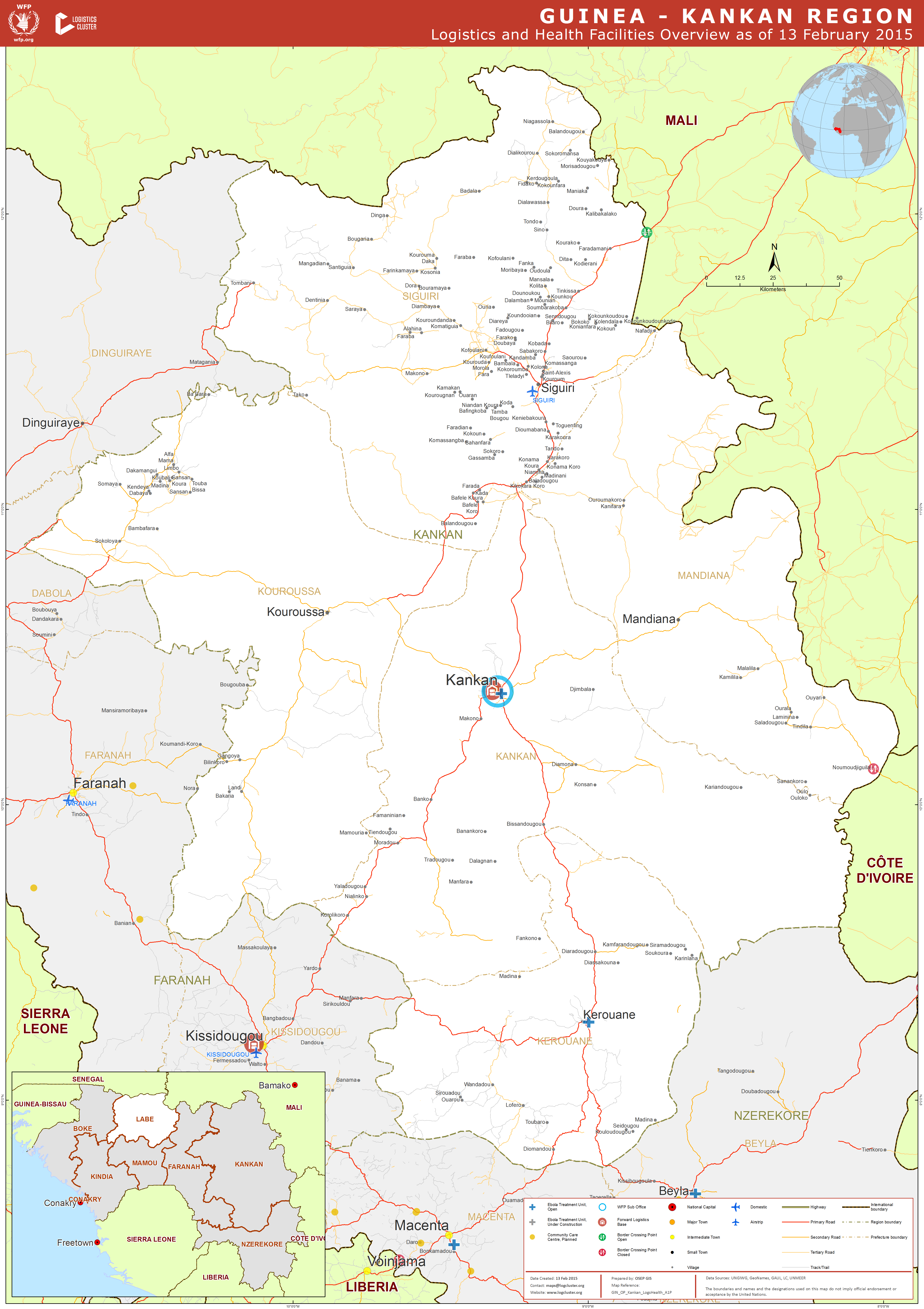 Guinea Kankan Region Logistics and Health Facilities Overview as