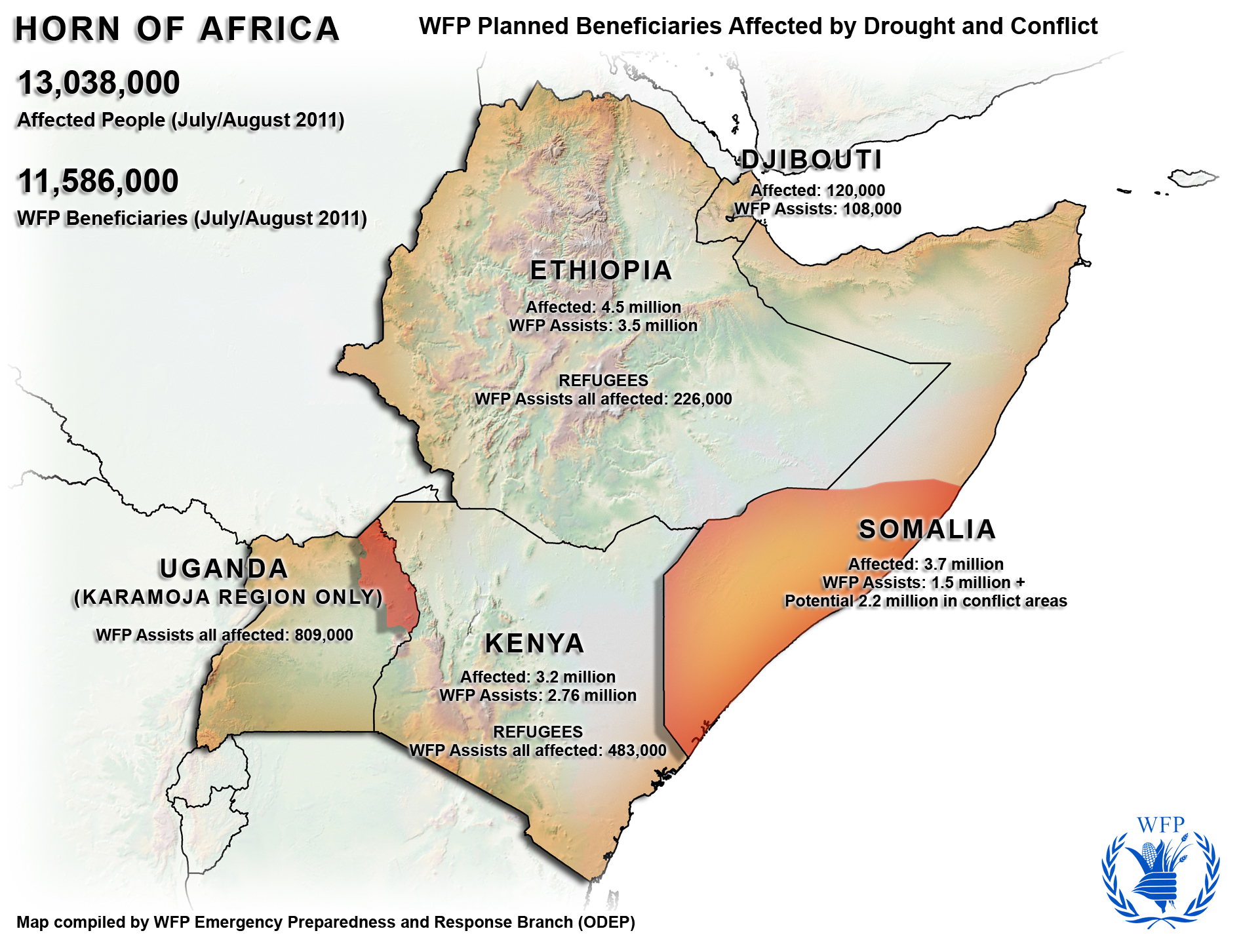 Horn Of Africa WFP Planned Beneficiaries Affected By Drought And - Horn of africa map