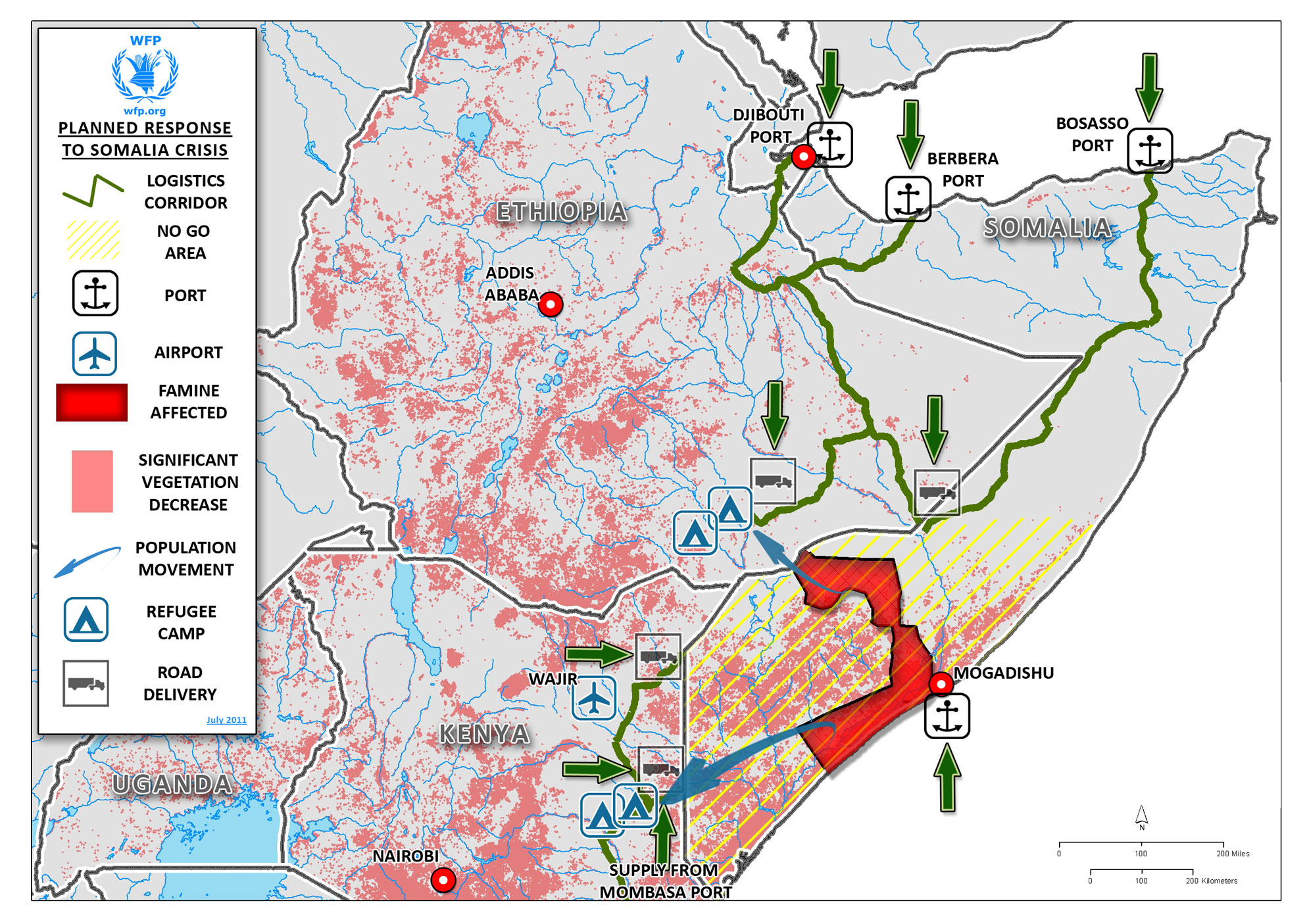 Horn Of Africa Planned Response To Somalia Crisis July - Horn of africa map