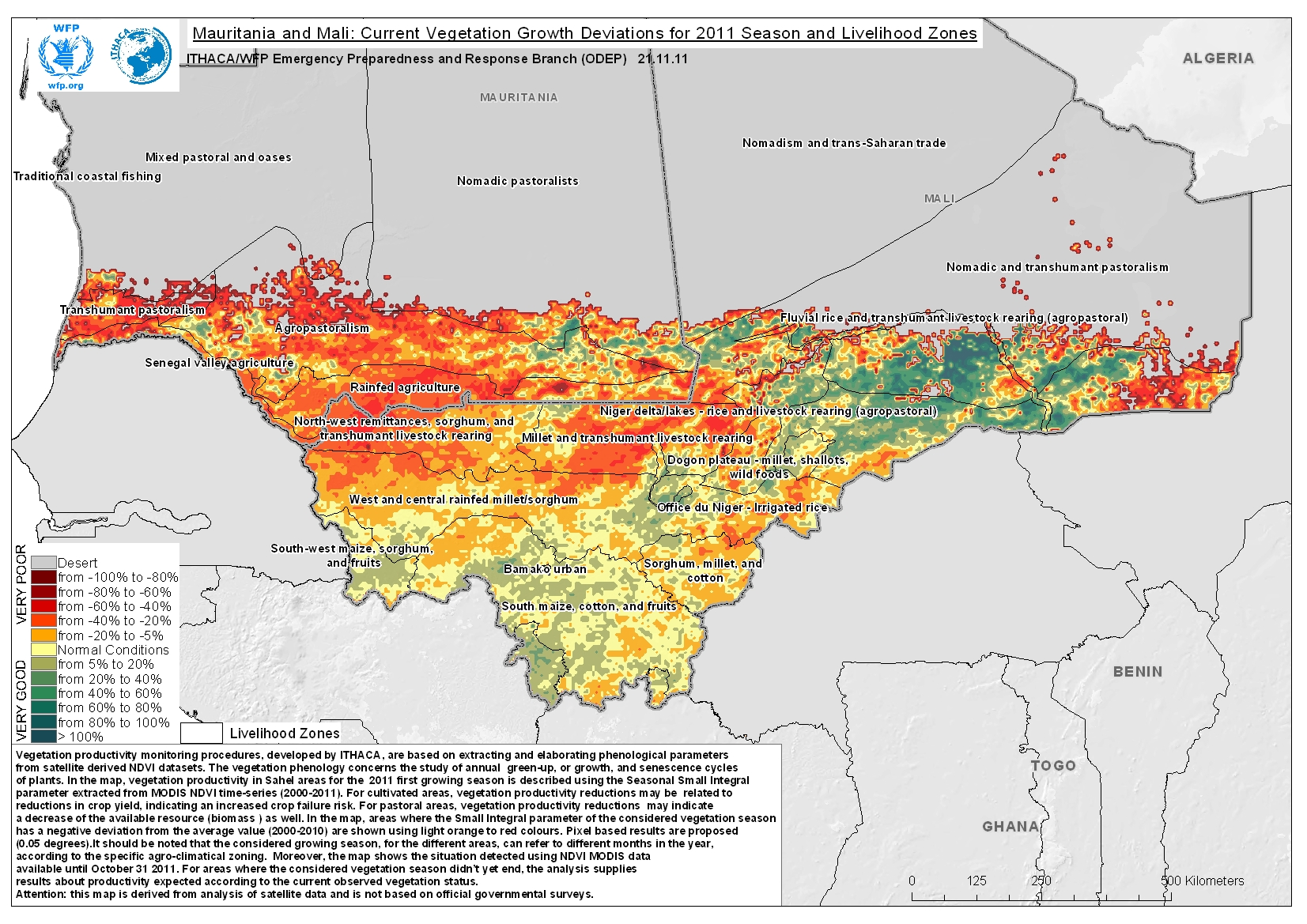 Mauritania And Mali Current Vegetation Growth Deviations For - Mauritania map download