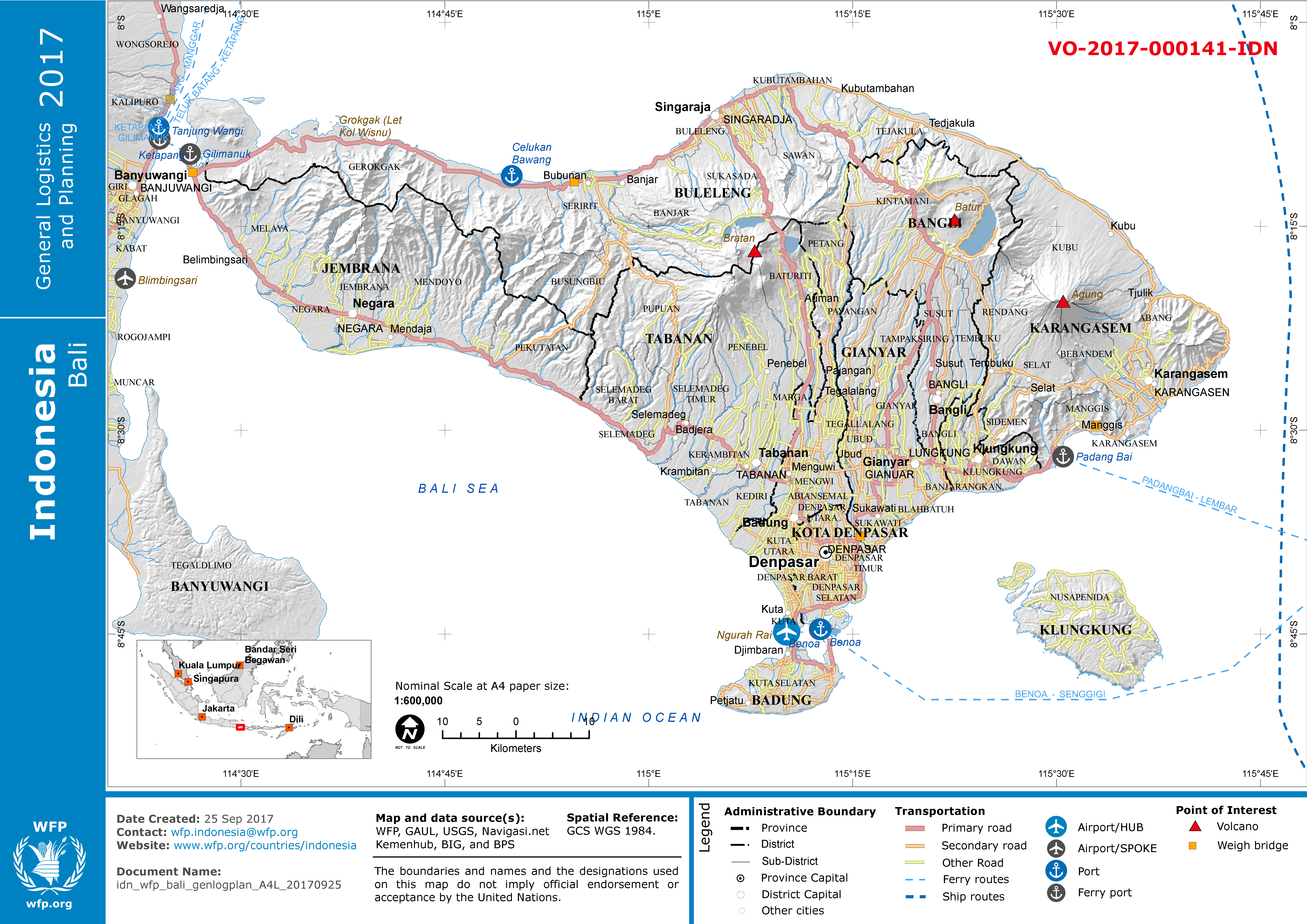 Indonesia 2017 General logistics and planning map Bali WFP GeoNode